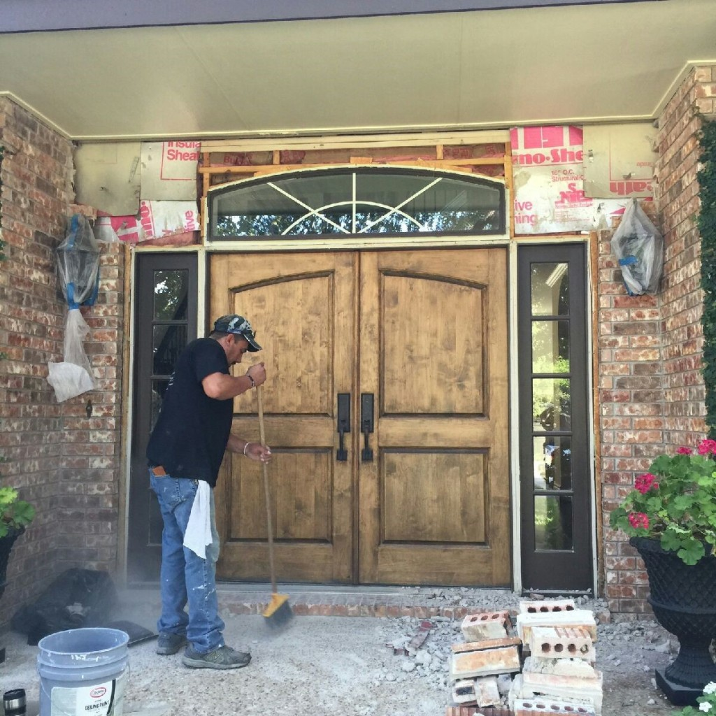 Our SW Austin customer wanted to get rid of the windows on the sides and top of their front door.